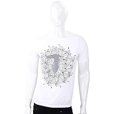 TRUSSARDI T字幾何圖印白色棉質T恤