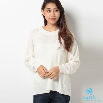 earth music 素色前短後長寬版側麻花編上衣