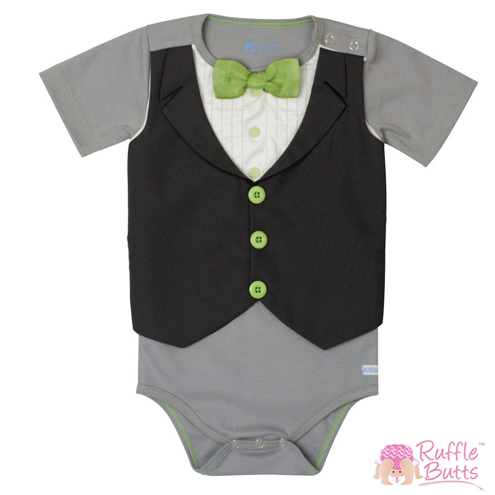 RuffleButts 灰衣綠領款小紳士包屁衣