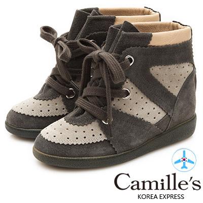 Camille's 韓國空運-正韓製-撞色牛麂皮內增高休閒鞋-杏x綠