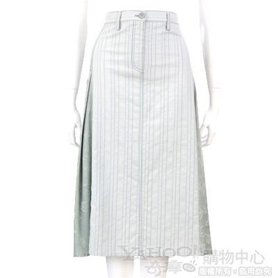 TREND 水綠色拼接百褶及膝裙