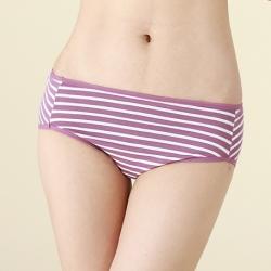 可蘭霓Clany  棉質簡約條紋M-XL中腰褲  高貴紫