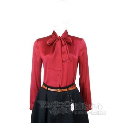 MARELLA 紅色緞面綁領結款長袖襯衫