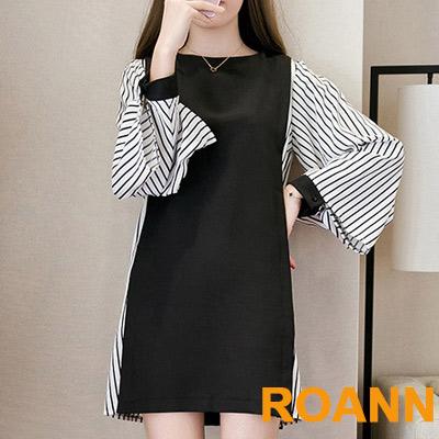 復古圓領拼接條紋長袖洋裝 (黑色)-ROANN