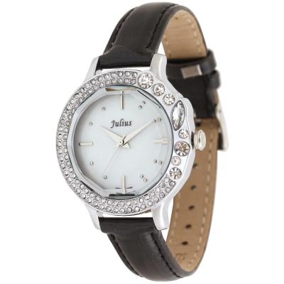 JULIUS聚利時 蜜亞公主滿鑽立體鏡面皮帶腕錶-黑x白面/36mm