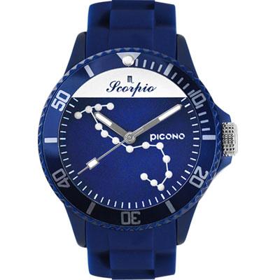 PICONO 星座系列休閒腕錶-天蠍座x藍/ 48 mm