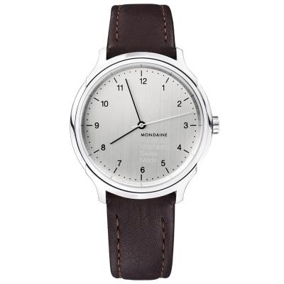 MONDAINE 瑞士國鐵設計系列手動上鏈機械錶-銀/40mm