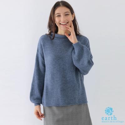 earth music 素面泡泡袖針織上衣