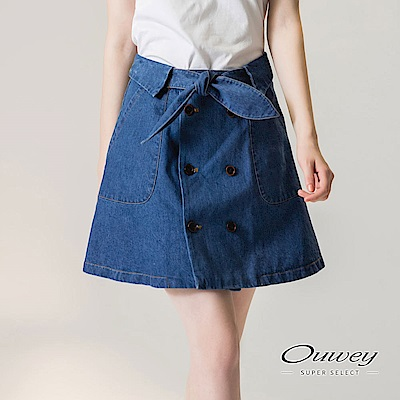 OUWEY歐薇 雙排扣設計A字牛仔短裙(藍)