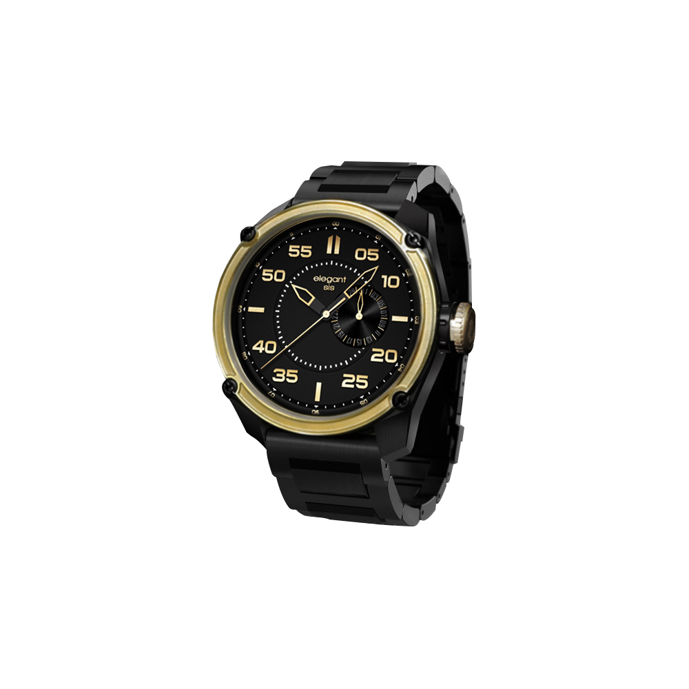 elegantsis Army 特務風雲日期時尚腕錶-黑金/46mm @ Y!購物