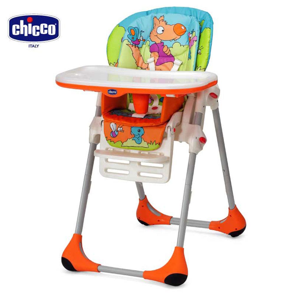 chicco-Polly兩段式高腳餐椅童話世界橘