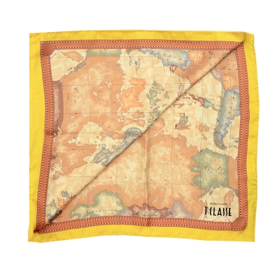 Alviero Martini 義大利地圖 經典地圖邊框配色方巾-黃(90X90)