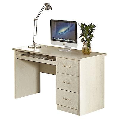 AT HOME-喬治4尺白木紋三抽電腦書桌(120*60*75cm)