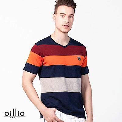 歐洲貴族oillio 短袖線衫 小V領設計 多顏色搭配 多色系