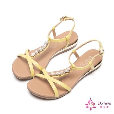 達芙妮DAPHNE 淑雅怡人T字珠飾繫踝楔型涼鞋-春漾黃
