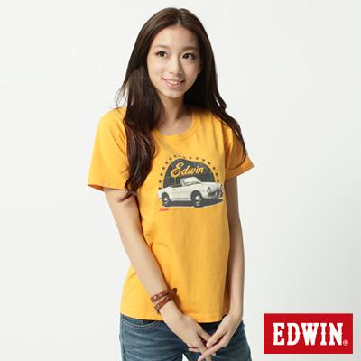 EDWIN-T恤-古董汽車後染T恤-女-黃色