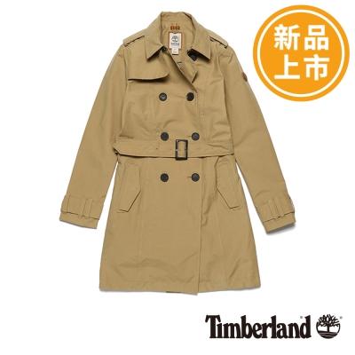 Timberland-女款卡其色防水長版風衣外套