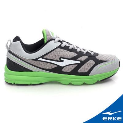 ERKE-鴻星爾克-男運動常規慢跑鞋-淺灰-草綠