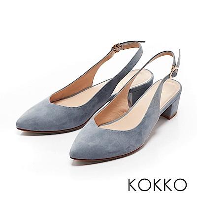 KOKKO - 輕熟香氣後拉帶尖頭粗跟鞋-溫柔藍