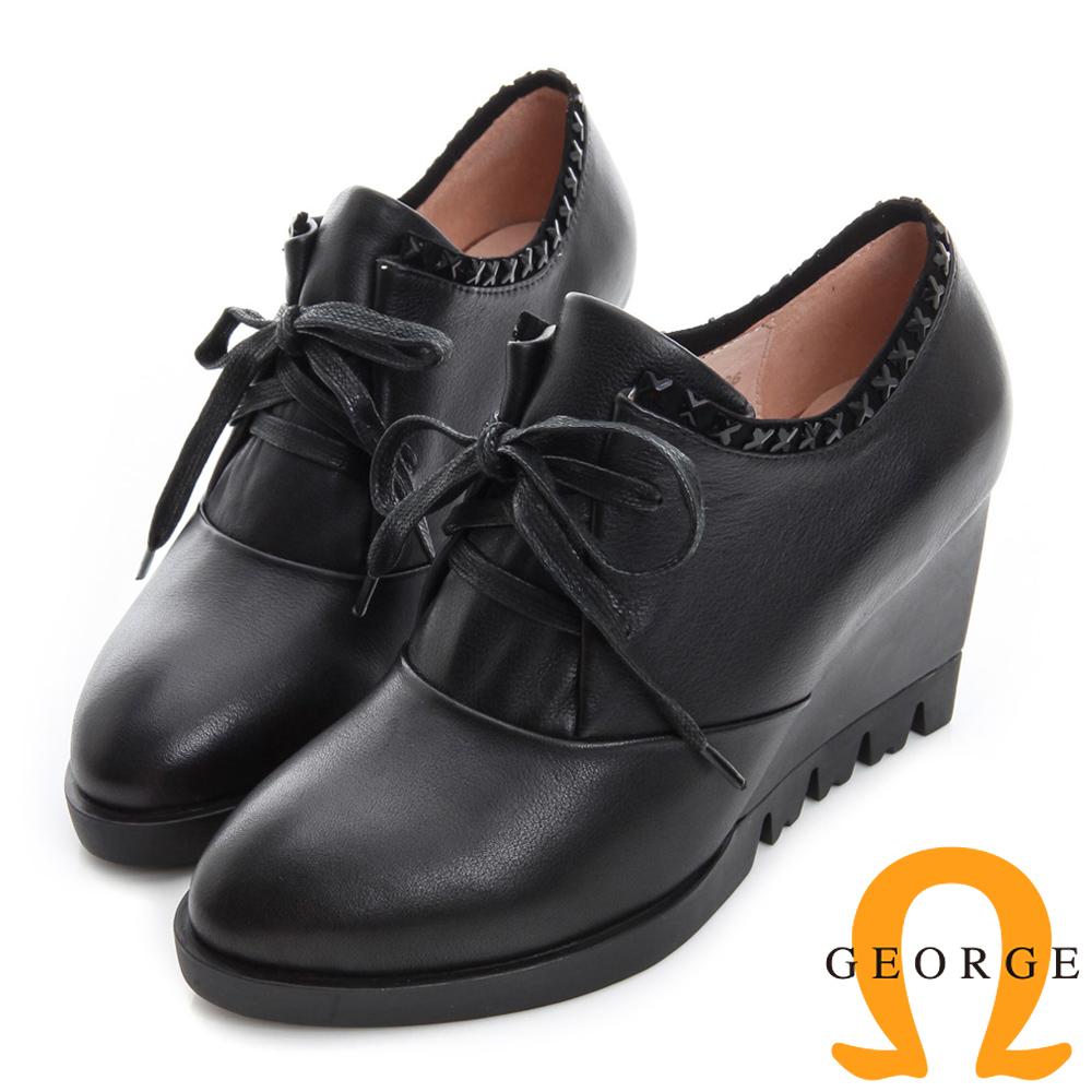GEORGE 喬治-繫帶交叉邊真皮厚底楔型踝靴-黑色