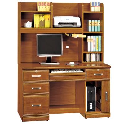 時尚屋 雅安樟木實木4.2尺層架電腦桌 寬127cm