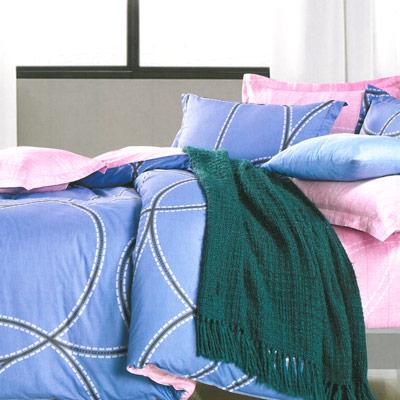 美夢元素 精梳純棉涼被床包組-雙人四件式 愛的痕跡-藍