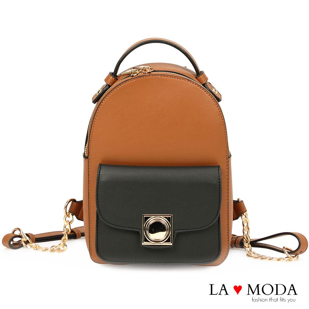 La Moda出遊逛街必備設計感硬挺百搭後背包棕