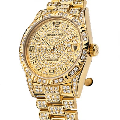 ROSDENTON 勞斯丹頓完美榮耀滿天星晶鑽機械手錶-金/35mm