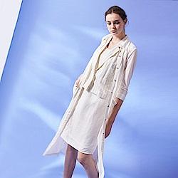 ICHE 衣哲 無印清新風淨白長版輕薄針織開襟罩衫外套-白