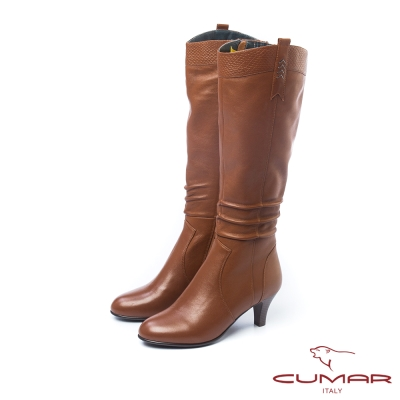 CUMAR超美型V口素面拼接長靴棕