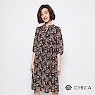 CHICA 復古花藝宮廷領綁帶設計洋裝(2色)