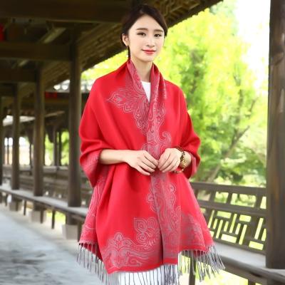 Seoul-Show-曼荼羅-隱痕-棉質編織圍巾披肩-大紅