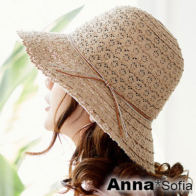 AnnaSofia 多線綁蕾絲拼接 寬簷防曬遮陽漁夫帽淑女帽(褐茶系)