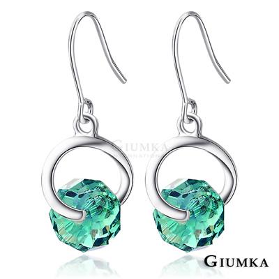 GIUMKA耳環 戀戀水晶耳勾耳環(綠)