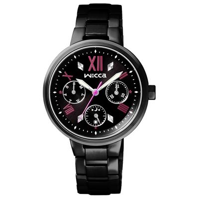 WICCA 傾訴愛戀氣氛全日曆腕錶(BH7-547-51)-黑/34mm