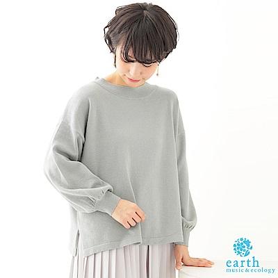 earth music 落肩圓領氣球縮口袖針織上衣