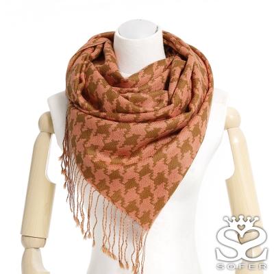SOFER-千鳥格紋100-羊毛保暖披肩-圍巾-粉橘