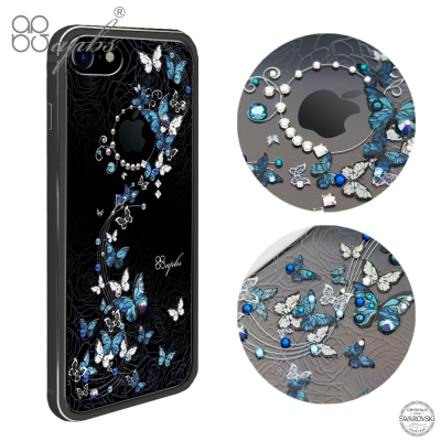 apbs iPhone7 4.7吋施華彩鑽鋁合金屬框手機殼-消光黑藍色圓舞曲