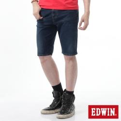 EDWIN 大尺碼 迦績褲黑腰頭牛仔短褲-男-酵洗藍