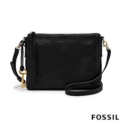 FOSSIL  EMMA 真皮小方包-黑色