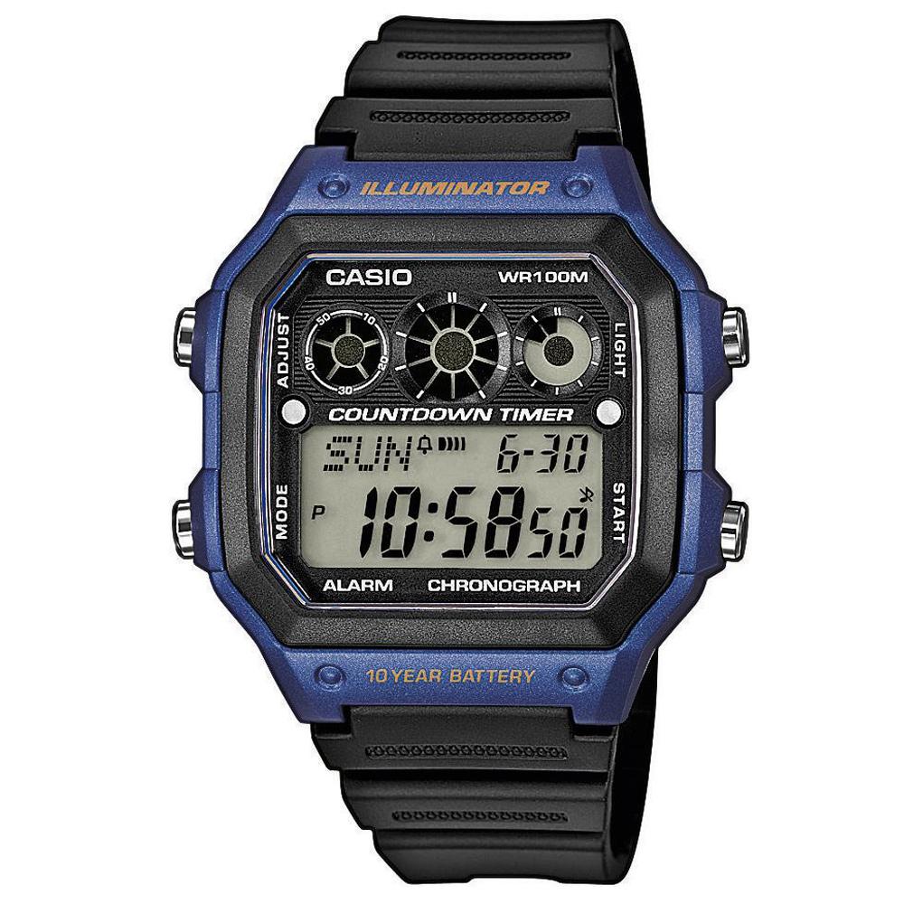 CASIO 10年電力亮眼設計方形數位錶(AE-1300WH-2A)-藍框x黑錶圈/42mm