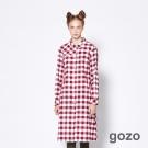 gozo 經典復古格紋玩酷長版襯衫洋裝(二色)