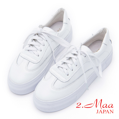 2.Maa - 經典不敗牛皮綁帶休閒便鞋 - 白