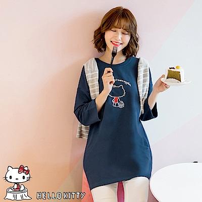 野餐KITTY~字母印圖七分袖長版上衣/洋裝-OB大尺碼