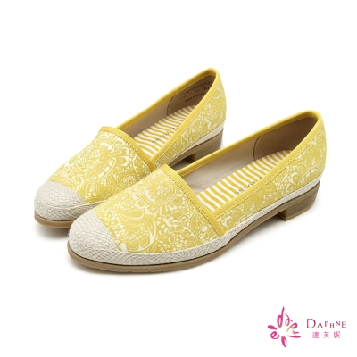 達芙妮DAPHNE-旅行之春圖紋風休閒便鞋-檸檬黃