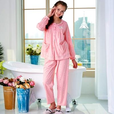 睡衣 精梳棉柔針織 長袖兩件式睡衣(67213)粉色 蕾妮塔塔