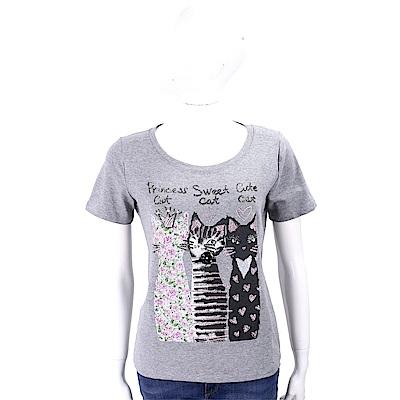 ANNA RACHELE 鑽貼貓咪圖騰灰色棉質T恤