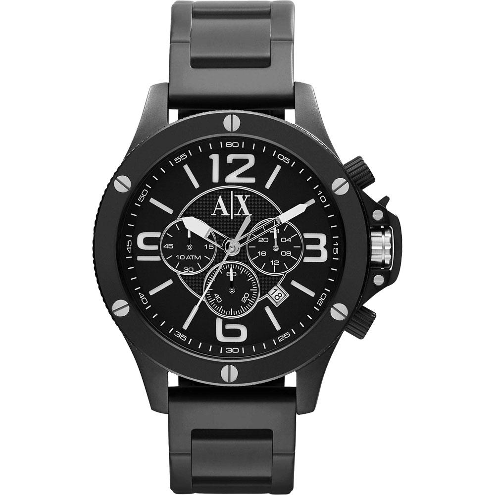 A│X Armani Exchange 重裝軍式風格計時腕錶-IP黑/48mm