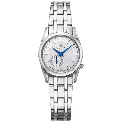 Olympia Star奧林比亞之星 經典都會系列小秒針時尚腕錶-銀/26mm