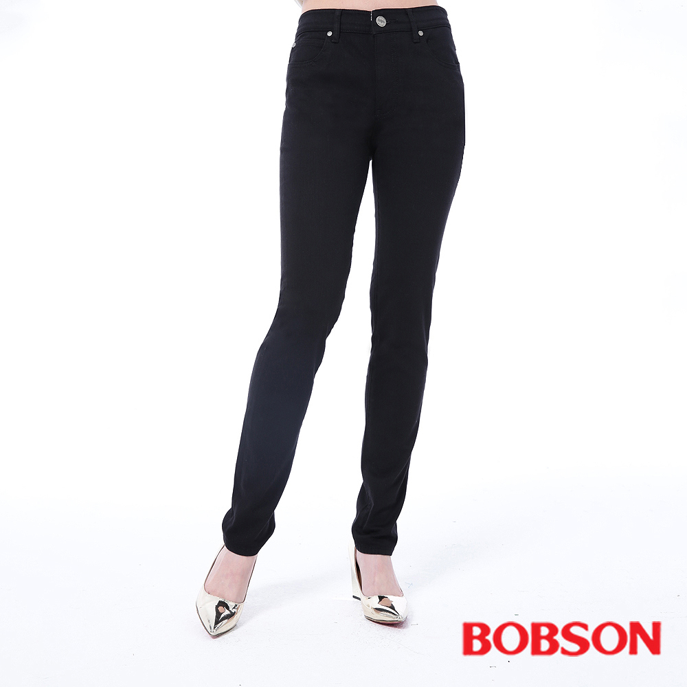 BOBSON 女款高腰膠原蛋白拉毛小直筒褲 -黑色